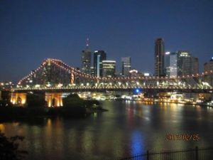 Storey Bridge Brisbane Lit up gold